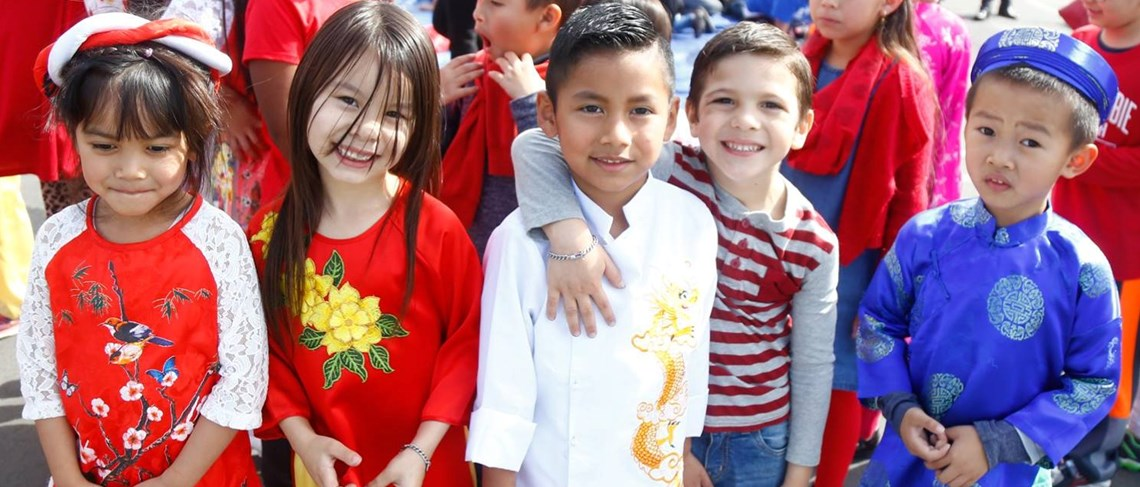 Students in Traditional Tet Dresses